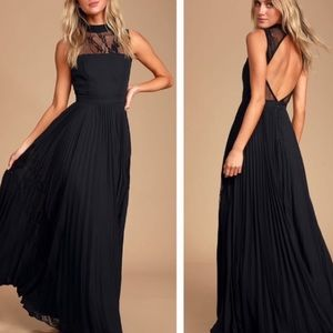 Lulus Ashleigh Black Pleated Lace Maxi Dress